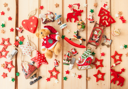 horse sleigh: Christmas background with vintage toy and decorations