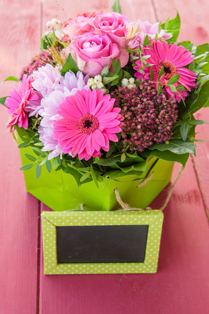 mothersday: Colorful bouquet with fresh pink gerbera and roses