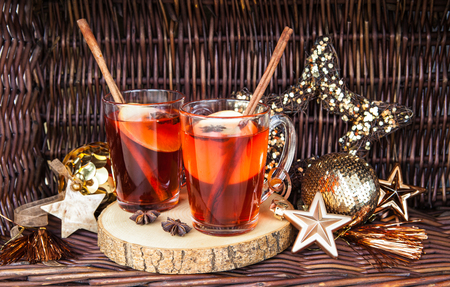 Hot rum punch with apple and spices Stock Photo