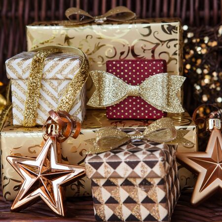 Glittery wrapped presents and ornaments for christmas