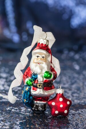 sequins: Festive christmas decorations on shiny background with sequins Stock Photo