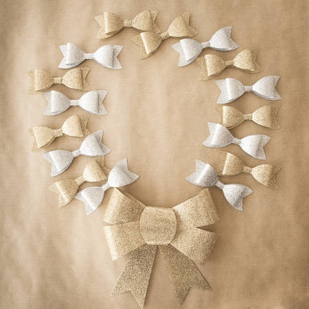 wrath: Bows arranged in a wrath in gold and silver
