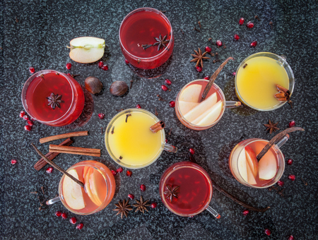 Mulled wine with winter spices and fresh pomegranate