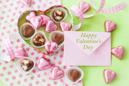 shaped: Colorful Chocolates in heart shaped chocolate box Stock Photo