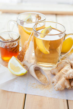 Freshly brewed tea with ginger and lemon Banco de Imagens