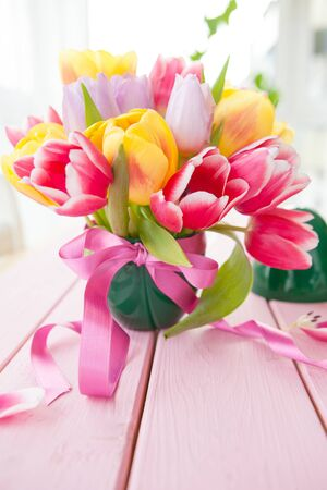 mothersday: Colorful bouquet of fresh tulips in various colors Stock Photo