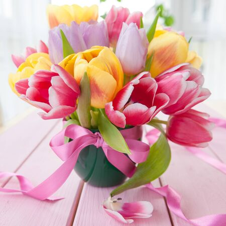 mother'sday: Colorful bouquet of fresh tulips in various colors Stock Photo
