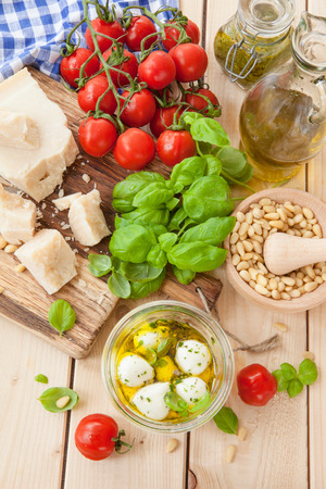 ingridients: Fresh ingridients for basil pesto with parmesan