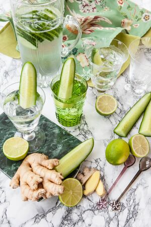 infused: Cucumber infused water with ginger and lime