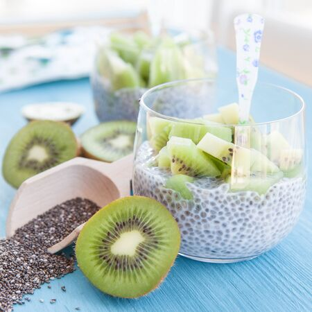 Chia Pudding with fresh kiwi in a glass