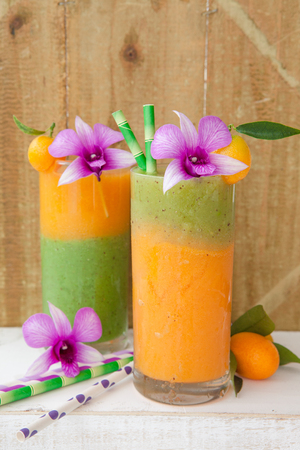 oj: Homemade smoothie from a variety of fruits