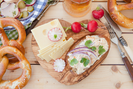 cheese platter: Rustic cheese platter and other Bavarian food