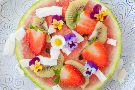 water melon: Slice of water melon with fresh fruits served as a pizza