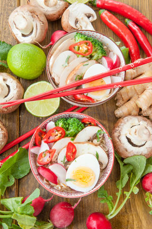 noodle soup: Asian ramen noodle soup with fresh veggies and hardboiled egg