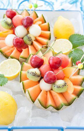 Cantaloupe: Fresh fruit salad in a cantaloupe melon cup