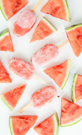 water melon: Homemade frozen ice cream pops with fresh water melon