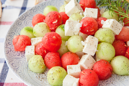 water melon: Cucumber salad with feta and water melon balls Stock Photo
