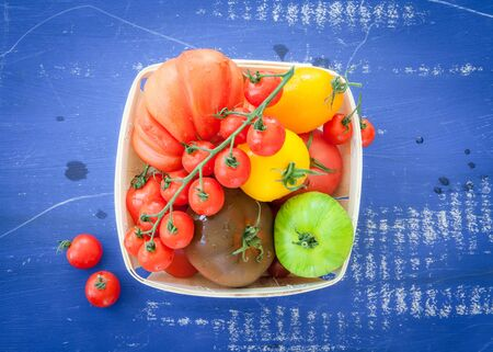 fruity salad: Variety of fresh tomatoes in bright colors Stock Photo