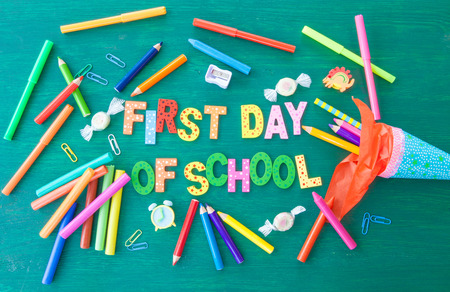 first day of school: Green background for the first day of school Stock Photo