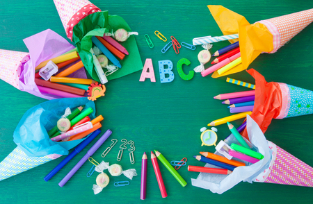 Green background for the first day of school Stock Photo