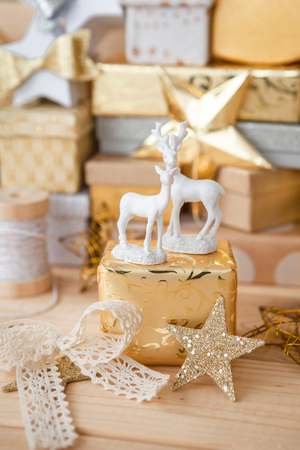 Little presents and glittery ornaments for christmas Stock Photo