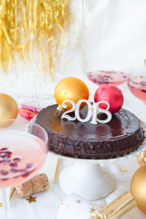 Chocolate cake for a festive New Years Eve party