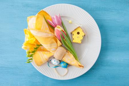 background settings: Decorative table setting for easter with copy space Stock Photo
