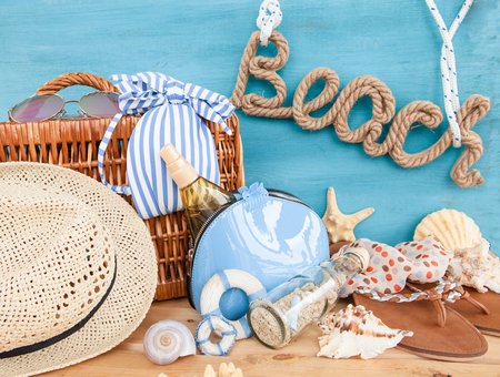 sun screen: Everything you need for a day at the beach Stock Photo