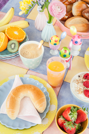 Cheerful table setting for a healthy breakfast