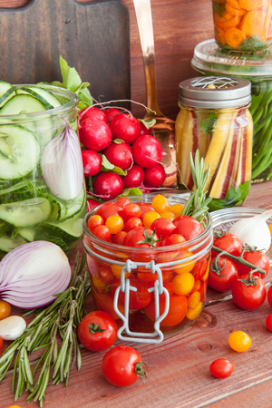 Pickling fresh vegetables with rosemary and garlic