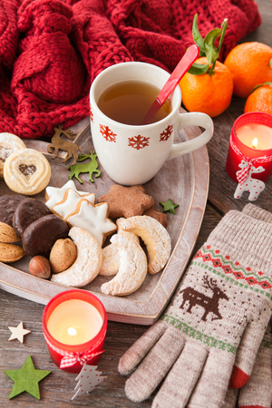 Variety of cookies and nuts for christmas Stock Photo
