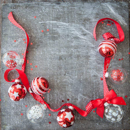 Cheerful christmas decoration with bright christmas ornaments