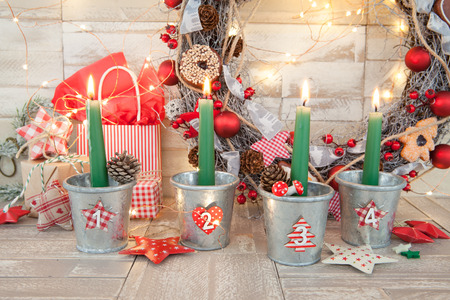 colorful christmas decorations and festive burning candles stock photo 90788762