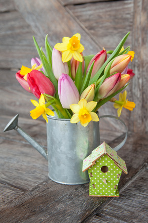 Colorful spring flowers on a rustic wooden background
