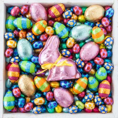 Bright cheerful easter eggs and chocolate bunny