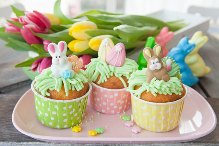 Little cupcake with sugar decorations for easter