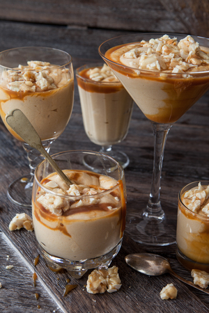 Delicious caramel mousse with butterscotch and peanut brittle