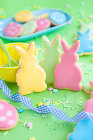 Cute sugar cookies in shape of bunnies for Easter