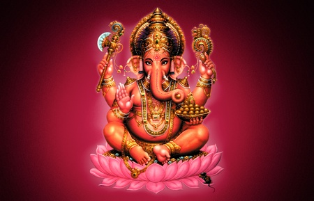 hinduism: Illustration of Ganesh on red background - Indian God Stock Photo
