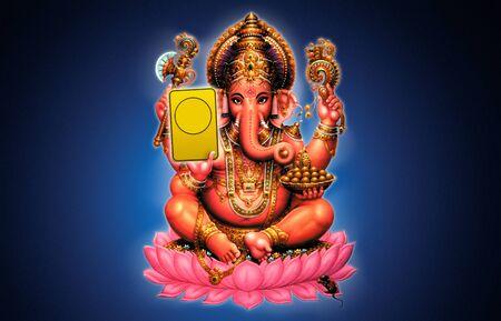 파란색 배경 - 인도 하나님에 Ganesh의 그림