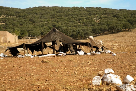 Poverty in morocco - tent of berbers in the moroccan countryside photo