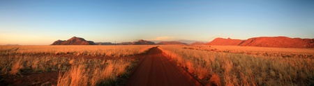 Landscape in the Namib-Naukluft National Park in Namibia. Exit from Sossusvlei road.