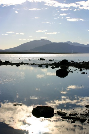 puerto natales: sunset on the lake of Puerto Natales in Chile - Patagonia