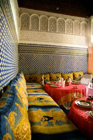 Interior design in a riad in Marrakesh, Morocco