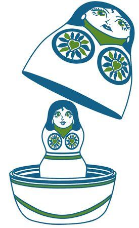 matroshka: Russian illustration matrioshka (Blue & green)