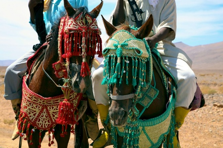 Moroccan riders on the road to marrakech close to the city of Tata in Morocco Stock Photo