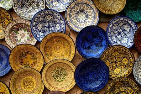 Kitchen tools in a souk of Marrakesh in Morocco