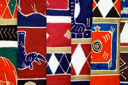 Craft Industry in Namibia and South Africa - Selection of colorful fabrics Stock Photo