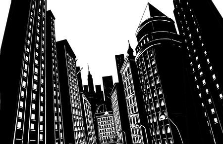 Drawing of city in black with white background photo