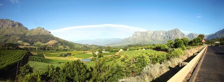 Panorama of a vineyard in the south of Franschhoek. Stock Photo